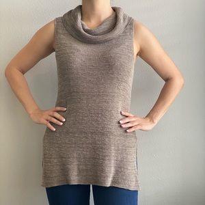 Sleeveless Knitted Mock Neck Tank